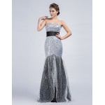 Formal Evening Dress - Ivory Trumpet/Mermaid Strapless Floor-length Sequined Special Occasion Dresses