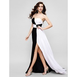 Formal Evening Dress Multi Color A Line Strapless Sweep Brush Train Chiffon