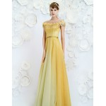 Formal Evening Dress - Daffodil A-line Jewel Floor-length Velet Chiffon Special Occasion Dresses