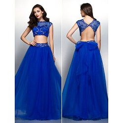 Formal Evening Dress Royal Blue A Line Scoop Floor Length Tulle