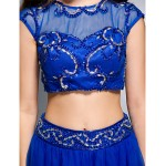 Formal Evening Dress - Royal Blue A-line Scoop Floor-length Tulle Special Occasion Dresses