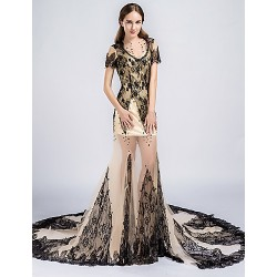Formal Evening Dress - Black Sheath/Column Jewel Court Train Lace / Tulle