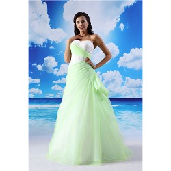 A Line Formal Evening Dress Sage Floor Length Sweetheart Lace Organza Satin