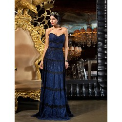Homecoming Formal Evening Prom Dress Royal Blue Plus Sizes Sheath Column Sweetheart Floor Length Lace