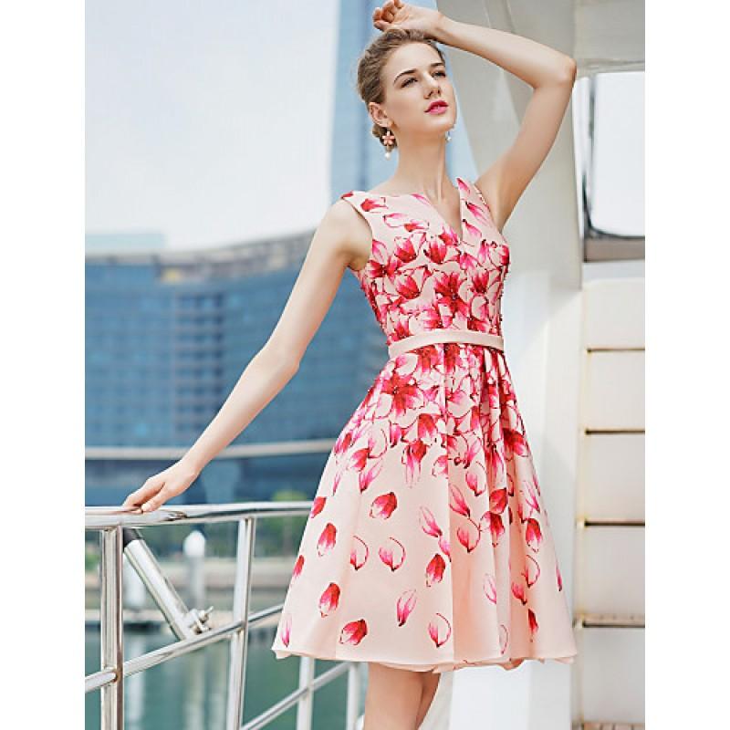 Cocktail Party Dress - Print Plus Sizes A-line V-neck Short/Mini ...