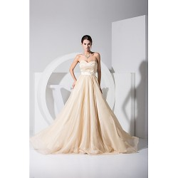 Formal Evening Dress Champagne Plus Sizes A Line Princess Strapless Floor Length Sweep Brush Train