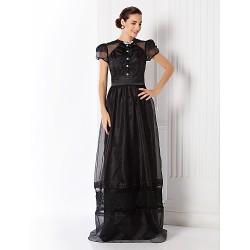 Formal Evening / Prom / Military Ball Dress - Black Plus Sizes / Petite Sheath/Column Jewel Floor-length Organza