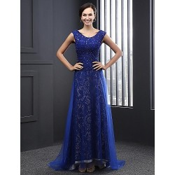 Formal Evening Dress - Royal Blue A-line Jewel Sweep/Brush Train Tulle