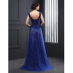 Formal Evening Dress - Royal Blue A-line Jewel Sweep/Brush Train Tulle Special Occasion Dresses