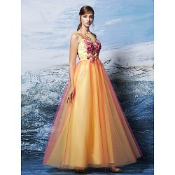 Formal Evening Dress Multi Color Plus Sizes Petite A Line Scoop Floor Length Tulle