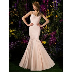 Sweep/Brush Train Tulle Bridesmaid Dress - Pearl Pink Plus Sizes / Petite Fit & Flare Spaghetti Straps