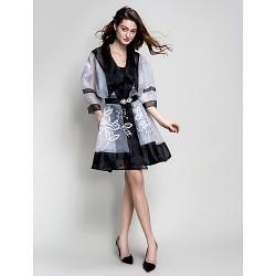 Cocktail Party Dress Black Plus Sizes Petite A Line V Neck Knee Length Stretch Satin Georgette