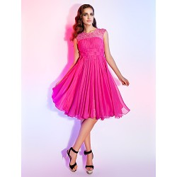 Dress - Fuchsia Plus Sizes / Petite A-line / Princess Jewel Knee-length Chiffon