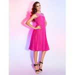 TS Couture Dress - Fuchsia Plus Sizes / Petite A-line / Princess Jewel Knee-length Chiffon Special Occasion Dresses