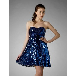 Cocktail Party Sweet 16 Holiday Dress Royal Blue Plus Sizes Petite A Line Princess Strapless Sweetheart Short Mini Sequined