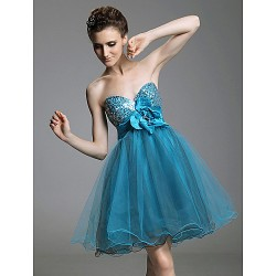 Cocktail Party Prom Sweet 16 Holiday Dress Pool Plus Sizes Petite A Line Princess Strapless Sweetheart Short MiniSequined