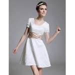TS Couture Cocktail Party / Graduation / Holiday Dress - White Plus Sizes / Petite A-line / Princess Square Short/Mini Lace Special Occasion Dresses