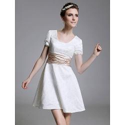 Cocktail Party Graduation Holiday Dress White Plus Sizes Petite A Line Princess Square Short Mini Lace