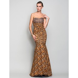 Formal Evening / Military Ball Dress - Print Plus Sizes / Petite Trumpet/Mermaid Sweetheart Floor-length Charmeuse