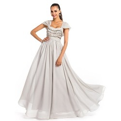 Formal Evening Prom Military Ball Dress Silver Plus Sizes Petite A Line Princess Square Floor Length Chiffon