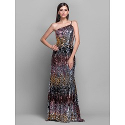 Formal Evening Military Ball Dress Multi Color Plus Sizes Petite Sheath Column One Shoulder Sweep Brush Train Sequined
