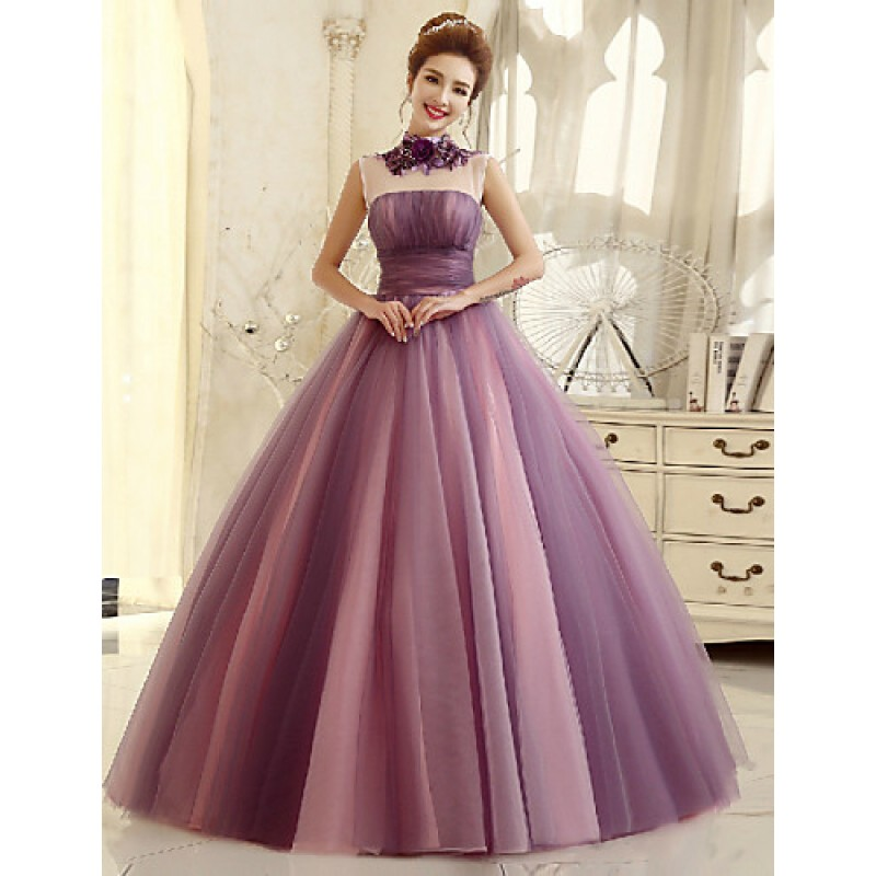 301f64e2762 Formal Evening Dress - Multi-color Ball Gown High Neck Floor-length Tulle  Special