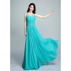 Formal Evening Dress Pool Ball Gown Scoop Floor Length Chiffon