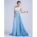Formal Evening Dress - Pool Sheath/Column Jewel Sweep/Brush Train Chiffon Special Occasion Dresses