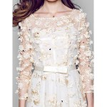 Formal Evening Dress - Champagne A-line Bateau Floor-length Lace Special Occasion Dresses