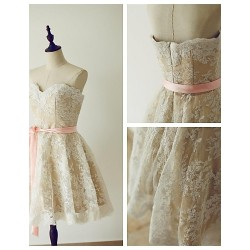 Cocktail Party Dress Champagne A Line Sweetheart Knee Length Lace Satin