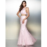 Formal Evening Dress - Blushing Pink Trumpet/Mermaid Halter Floor-length Lace Special Occasion Dresses