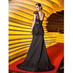 Formal Evening / Military Ball Dress - Black Plus Sizes / Petite Trumpet/Mermaid Straps Sweep/Brush Train Stretch Satin / Lace Special Occasion Dresses
