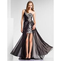 Formal Evening / Military Ball Dress - Black Plus Sizes / Petite Sheath/Column One Shoulder / Sweetheart Floor-length Chiffon / Sequined