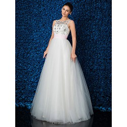 Formal Evening Dress Ivory Plus Sizes Petite Ball Gown Jewel Floor Length Lace Tulle