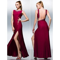 Dress - Fuchsia Plus Sizes / Petite Sheath/Column Bateau Floor-length Knit