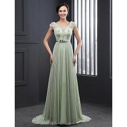 Formal Evening Dress Sage Ball Gown Jewel Sweep Brush Train Chiffon