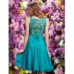 TS Couture Cocktail Party Dress - Jade A-line V-neck Knee-length Chiffon Special Occasion Dresses