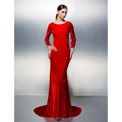 Formal Evening Dress Ruby Plus Sizes Petite Trumpet Mermaid Scoop Court Train Velvet