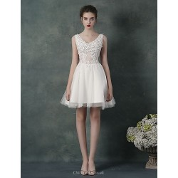 Cocktail Party Dress Blushing Pink Ruby Lilac White A Line V Neck Knee Length Chiffon Tulle