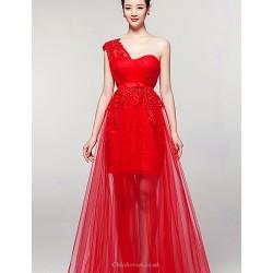 Formal Evening Dress - Ruby Sheath/Column One Shoulder Floor-length Tulle