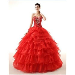Ball Gown Sweetheart Floor-length Georgette Wedding Dress