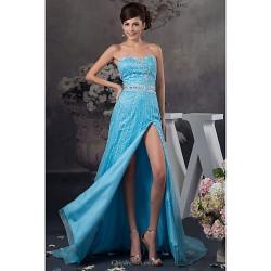 Formal Evening Dress Pool Petite A Line Sweetheart Floor Length Satin