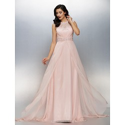 Formal Evening Dress - Pearl Pink Plus Sizes / Petite A-line Jewel Sweep/Brush Train Chiffon