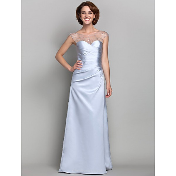 Sheath/Column Plus Sizes / Petite Mother of the Bride Dress - Silver Floor-length Sleeveless Satin / Tulle Mother Of The Bride Dresses