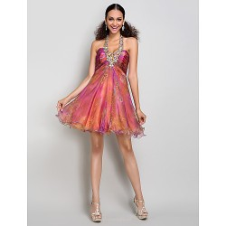 Cocktail Party Homecoming Prom Sweet 16 Dress Print Plus Sizes Petite A Line Halter Sweetheart Short Mini Organza Taffeta
