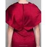Formal Evening Dress - Burgundy Plus Sizes / Petite Trumpet/Mermaid V-neck Court Train Satin Special Occasion Dresses