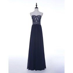Dress Dark Navy Sheath Column Strapless Floor Length Chiffon