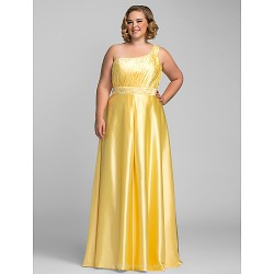 Formal Evening / Prom / Military Ball Dress - Daffodil Plus Sizes / Petite Sheath/Column One Shoulder Floor-length Charmeuse