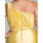 Formal Evening / Prom / Military Ball Dress - Daffodil Plus Sizes / Petite Sheath/Column One Shoulder Floor-length Charmeuse Special Occasion Dresses