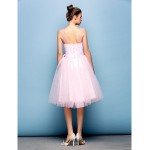 Cocktail Party Dress - Blushing Pink Plus Sizes / Petite Ball Gown Straps Knee-length Tulle Special Occasion Dresses